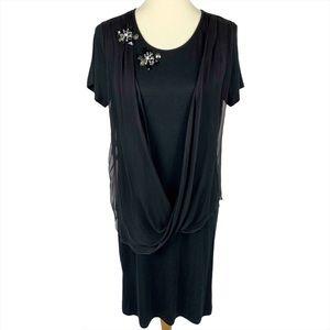 Blumarine Embellished Draped Chiffon Shift Dress